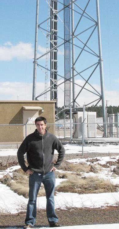 Lynda Duffy/WGCN<br> Michael Merrill of CommSpeed stands in front of a tower, which supports Commspeed's 4G technology.
