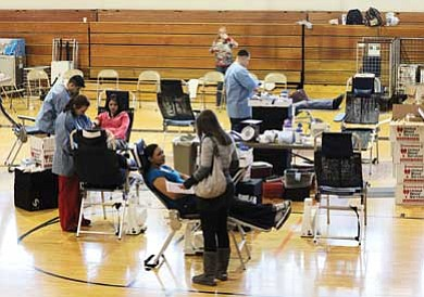 Ryan Williams/WGCN<br> Williams High School students donate blood during a January drive. United Blood Services hope to collect from 150 donors April 26-27.