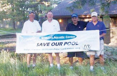 Photo/Bobby Patricca<br>    Some of the winners from the Second Annual Friends of the Williams Aquatic Center Golf Tournament pose for a picture after the event. From left to right are Bob DeLander (Third Net), Ken Edes (First Net) and Mark Temke, and Robert Martinez (First Gross).