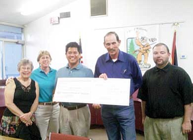 Submitted photo<br> Board members of the Friends of the Williams Aquatic Center present a check for $5,500 to the city of Williams during the July 14 Williams City Council meeting. Pictured from left to right are: Kris Vasquez, Clare Hydock, Mike Dulay, Mayor John Moore, and Bobby Patricca.