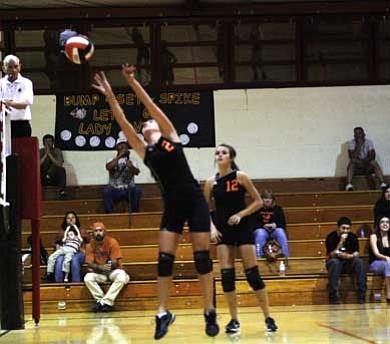 Clara Beard/WGCN <br /><br /><!-- 1upcrlf2 --><br /><br /><!-- 1upcrlf2 --><br /><br /><!-- 1upcrlf2 -->Crystal Heiser sets the ball over the net while Lady Vikes captain Jordan Pettit looks on.
