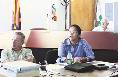 Clara Beard/WGCN <br> Havasupai Councilwoman Carletta Tilousi discusses the tribe's concerns regarding possible development and annexation of forest land near Tusayan at a special Williams City Council session Sept. 27.