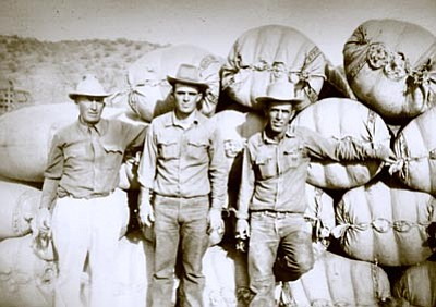 Photo/Pouquette Family Collection<br> After a long day of work, Joe, Albert and Pierre Pouquette stand in front of multiple bags of wool.