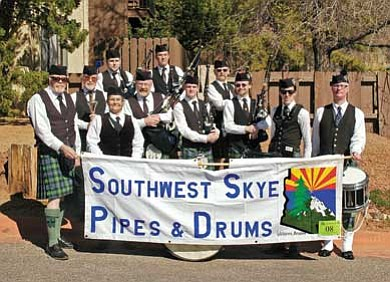Pictured from left are Joe Meehan, Drum Major Joe Tulley, Jason Wamble, Patty Williams, Mike Stuckey, Scott Grimes, Josh Prout, Russ Miller, Pipe Major Michael Donelson, Sean Meehan and Geoff Pavey. Missing is Piper Martha Shideler.