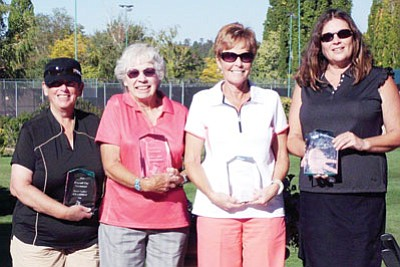 Members of the Elephant Rocks Women's Golf Club are all smiles after taking home the top prizes in the Flagstaff City Championship last weekend. Pictured (left to right) are Phyllis Schiller (Senior Women's Low Net), Luanne Lea (Senior Women's Low Gross), Sharon Gibson (Women's Open Low Gross), and Marci Freshour (Women's Open Second Net). Suzie Hite won Women's Open Second Gross. Submitted photo