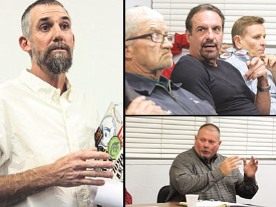 Left: Ryan Schmitz voices his concerns regarding a medical marijuana facility on Route 66 in Williams during the Sept. 27 Williams City Council meeting. Top: Tim Moore, with Cannabis Research Group, listens to community response. Bottom: Williams Police Chief Herman Nixon discusses the dispensary's location. Clara Beard/WGCN