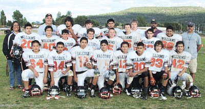The Williams Middle School Falcons are now 4-0 for the season with wins over Camp Verde, Bagdad, Ash Fork and Cottonwood. The team takes on Chino Valley at the Williams High School field Saturday at 3 p.m. Front row: Paulino Ayala, Daniel Lopez, Christian Ramirez, Zackery Perkins, Jose Pedraza, Martin Soria, Robert Mills and Diego Pedraza. Middle row: Coach Deniz Chavez, Luis Cardenas, Manuel Pedraza, RJ Giunta, Ashton Johnson, Tate Grantham, Kenne Hoag, Jesus Benitez, Mario Martinez and Coach Tiger Grantham. Back row: Coach Tad Wygal, Josh Dodson, Tucker Dodds, Francisco Ortiz, Ethan Johnson and Coach Tanner Grantham. Submitted photo<br /><br /><!-- 1upcrlf2 -->