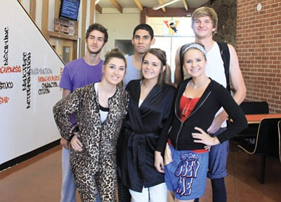 Williams High School students celebrate homecoming on Monday with Pajama Day. Clockwise from left: senior royalty candidates Jeff Brownlee, Oscar Nunez, Alessandro Fadda, Chrystal Heiser, Jordan Pettit and Karrina Rotter; juniors Coty Baxter and Jessie Durnez; sophomores Dustin Hollamon and Cheyenne Milner; and freshmen Braden Heap and Julie Jansma. Submitted photos
