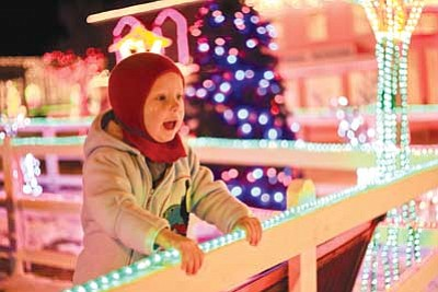 A young traveller eagerly awaits his turn on the Polar Express train. The Polar Express starts running this Friday. Ryan Williams/WGCN