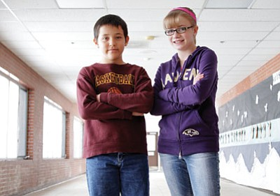 Williams Elementary-Middle School (WEMS) fifth-grader Isaiah Quiriarte and seventh-grader Rylie Heap stand at the ready prior to the Coconino County Spelling Bee. The two came out on top in the WEMS bee earlier this month. Ryan Williams/WGCN