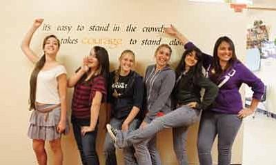 From left, Dance Line Club members Haley Ross, Chelsea Hardison, Stephanie Wamble, Kathrin Werdinig, Monique Ruiz and Azalia Zuniga Jasso strike a pose. Marissa Freireich/WGCN