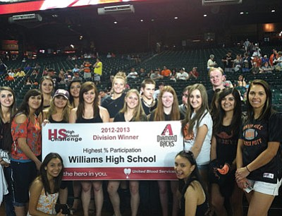 United Blood Services recognized Williams High School blood drive organizers and participants at the May 1 Arizona Diamondbacks game for the highest percentage participation award. Submitted photo