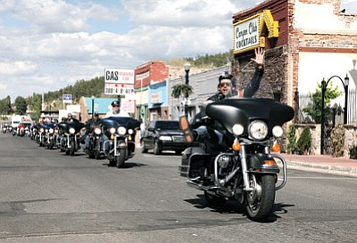 Bikers from Uruguay ride through Williams. A documentary about the bikers and their trip along Route 66 will air in Uruguay. Ryan Williams/WGCN
