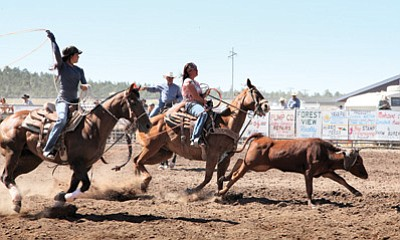 A roping team participates in last year's Cowpunchers Reunion Rodeo at the Williams Rodeo Grounds. Ryan Williams/WGCN