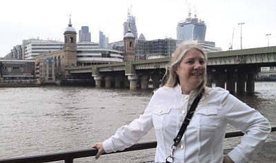 Williams-Grand Canyon Chamber of Commerce President Gioia Goodrum stands in front of the River Thames in London. Submitted photo