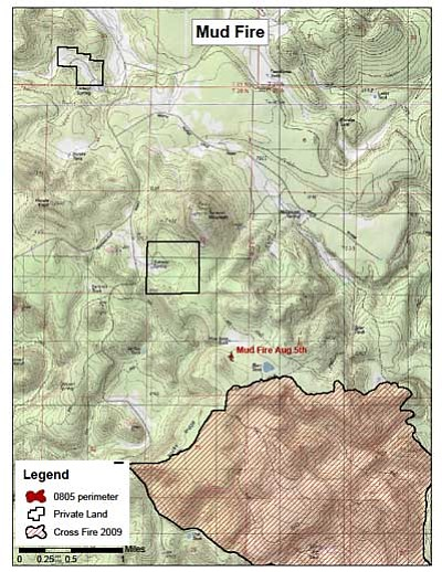 This map shows the location of the Mud Fire. Photo/U.S. Forest Service
