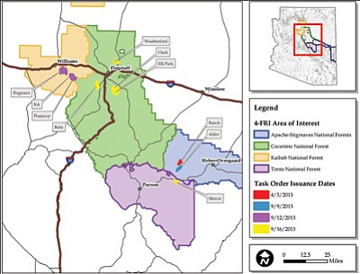 A map depicts the recent task orders issued for the Four Forest Restoration Initiative. Submitted photo