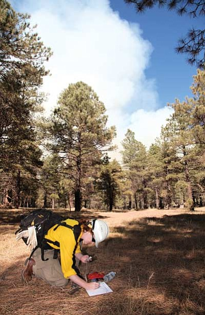 Holly Krake, fire information officer for the Kaibab National Forest, records wind speed, wind direction and relative humidity as smoke billows in the distance from the McCracken Cougar Park prescribed fire. Ryan Williams/WGCN