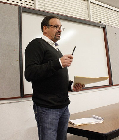 Cannabis Research Group's Tim Moore discusses the reasons for moving Route 66 Wellness Center to the Hop Sings building at 324 E. Railroad Ave. during the Jan. 16 Williams P&Z meeting. Marissa Freireich/WGCN