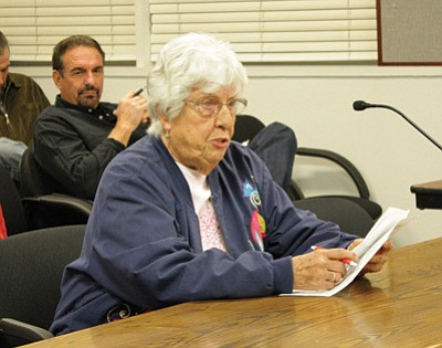 Williams resident Ruth Sanzari urges council members to deny the medical marijuana dispensary's request to relocate. Marissa Freireich/WGCN