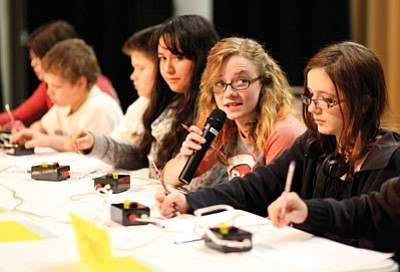 Rylie Heap answers a question during the math portion of the Knowledge Bowl. Heap finished second in the math competition. Ryan Williams/WGCN