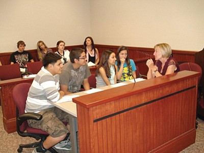 Williams High School students prepare for their mock trial at last year's Law Day event. Submitted photo