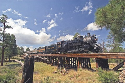 Locomotive No. 4960 heads down the track. The locomotive will pull1932 Pullman cars on one-hour rides during Train Days at the Grand Canyon Railway June 14 and 15. Photo/Grand Canyon Railway