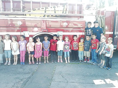 The students check out a Williams Volunteer Fire Department engine. Submitted photo
