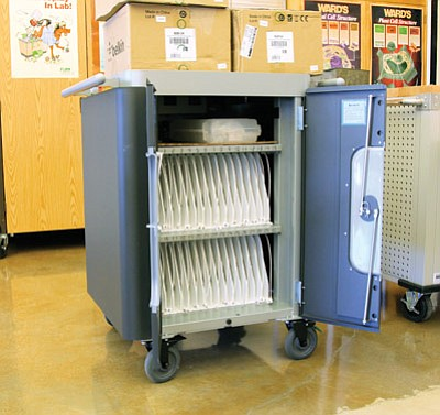 One of two iPad carts Williams High School students will use this school year. Each cart holds 25 iPads. Ryan Williams/WGCN