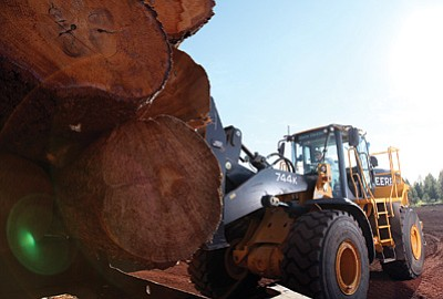 Newpac CEO Chris Stephan unloads logs at the mill site July 21. Ryan Williams/WGCN
