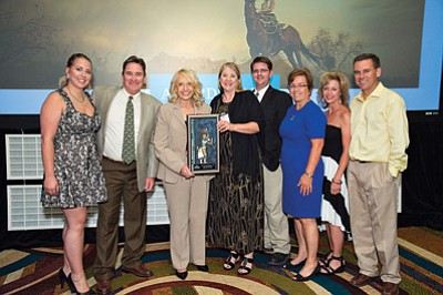 From left: Jocelyn Monteverde, Bruce Brossman, Governor Jan Brewer, Gioia Goodrum, Stephen Pelligrini, Laurie Purcell, Jamie Casey and Sean Casey. Submitted photo