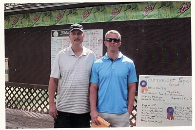 Chance Bixler and Bert Mead won the first place net prize in the Friends of the Williams Aquatic Center's fifth annual golf tournament at Elephant Rocks Golf Course. The tournament raised $4,000 for the organization. Submitted photo
