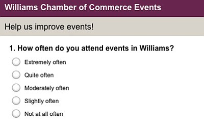 "The Williams-Grand Canyon Chamber of Commerce's events survey is available online at <a href=""http://www.surveymonkey.com/s/QWB3XJN"" target=""_blank"">www.SurveyMonkey.com/s/QWB3XJN</a> through Dec. 31. (Survey Monkey screenshot)"