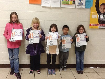 From left: Williams Elementary-Middle School's December Students of the Month are Allyson Stearns, Jaycie Dent, Audrey Stearns, Jose Gonzalez and Erin Lucas. Submitted photo