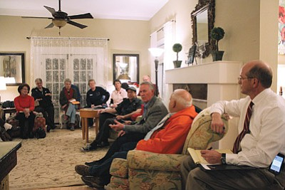 Active volunteer Rodger Ely addresses representatives from different service organizations and businesses at Williams' first event huddle Jan. 8. The purpose of the event was for people to work together to improve the city's events. Marissa Freireich/WGCN