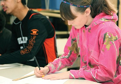 Ashlynn Kennelly concentrates on a drawing in art class at Williams Middle School. Ryan Williams/WGCN