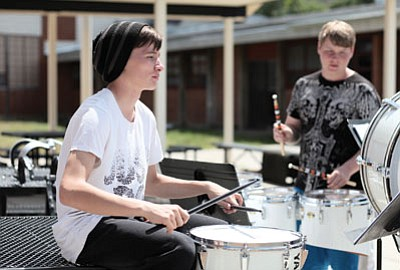 High School percussionist Jordan Pyrie works on marching band music. Ryan Williams/WGCN