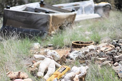 A teddy bear sits on a pile of trash in front of discarded furniture off Forest Road 124 north of Ash Fork.  Wendy Howell/WGCN
