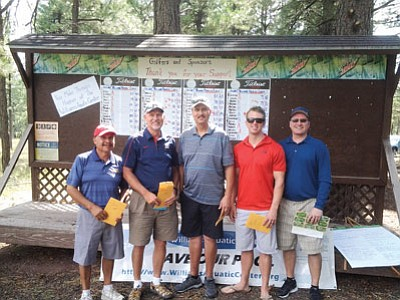 The Friends of Williams Aquatic Center golf tournament took place Aug. 29. From left: Sam Espinosa and Ken Edes (second, low net); Bert Mead and Chris Bixler (first, gross); Matt Lafko (first, low net with partner RD Evans, not pictured). Submitted photo