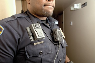 Williams police officer Robert Anderson wears a body camera. The Williams Police Department now requires officers to wear the cameras at all time when on duty.  Ryan Williams/WGCN