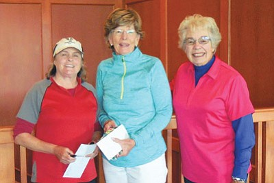 The State Seniors Golf Championship took place Oct. 6-8 at Flagstaff Ranch. Three members of the Elephant Rocks Women's Golf Club won prizes. Pictured from left: Suzie Hite won second net in the second flight, Janet Cothren won first gross in the second flight and Luanne Lea won second net in the Super Seniors flight. Cothren and Hite were runners-up for the Mary Lou Sauer award, which goes to the two players from the same club with the lowest combined net scores. The Arizona Women's Golf Association put on the tournament. Submitted photo