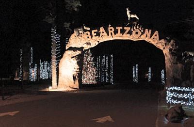 The front entrance to Bearizona is lit up for the holidays. Photo/Bearizona
