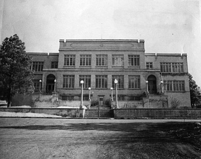 The 1925 Williams High School was the first high school in Williams. It was located on a hill overlooking Williams at Slagel Street and Sheridan Avenue. Courtesy of Williams Public Library Historical Photo Archive