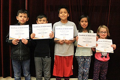From left: Williams Elementary-Middle School Students of the Month for February are Alex Ortiz, Joaquin Godinez, Nickoli Cody, Daizy Vazquez and McKinzie Martinez. Wendy Howell/WGCN