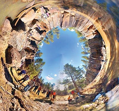 Hikers visit the falls and petroglyphs at Keyhole Sink in March as captured by Google Camera and the Tiny Planet app. Forest archaeologists are using advanced technology to record and monitor archaeological and historical sites across northern Arizona. Photo/Neil Weintraub