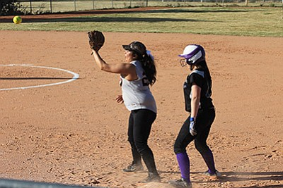 Frenchesca Pennington  waits for the throw to first during an earlier season game with Sedona. Wendy Howell/WGCN