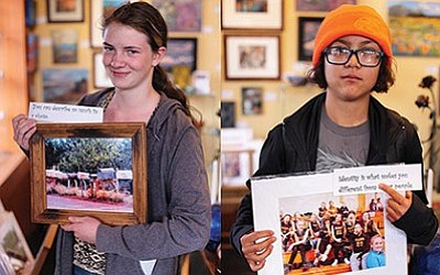 Samantha Russell and Jasmine Wouters display their artwork at The Gallery in Williams April 9. photos/Amy Martin