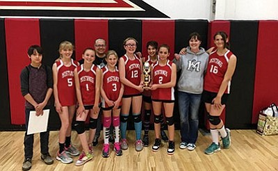 Left to right: manager Jon Smith, Sydnee Mortensen, Kimberly Hart, coach Melanie Velazco, Aspen Weatherhead, Marley Peterson, Sarah Leonard, Angelina Rediger, coach Julie Stafford and Brandalyn McMenamin hold their trophy. Maine Consolidated School won third place in the I-40 League B team tournament April 23. Submitted photo
