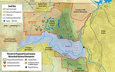 The proposed Greater Grand Canyon Heritage National Monument includes large tracts of land north and south of the Grand Canyon.  Map courtesy of the Sierra Club