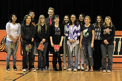 Williams High School administrators acknowledged academic award recipients at an award night presentation May 5. Students earned a 3.75 GPA at least once during the fall semester and had a cumulative 3.5 GPA during the year. Pictured: Carston Brinkworth, Davian Cooke, Cassidy Ellico, Aiden Jaime, Nancy Leon, Trisha Stearns, Raven Christiansen, Ryle Heap, Veronica Hernandez, Madison Jenks, Paige Kmetz, Aiessandar Rico and Rebekah Zink. Wendy Howell/WGCN